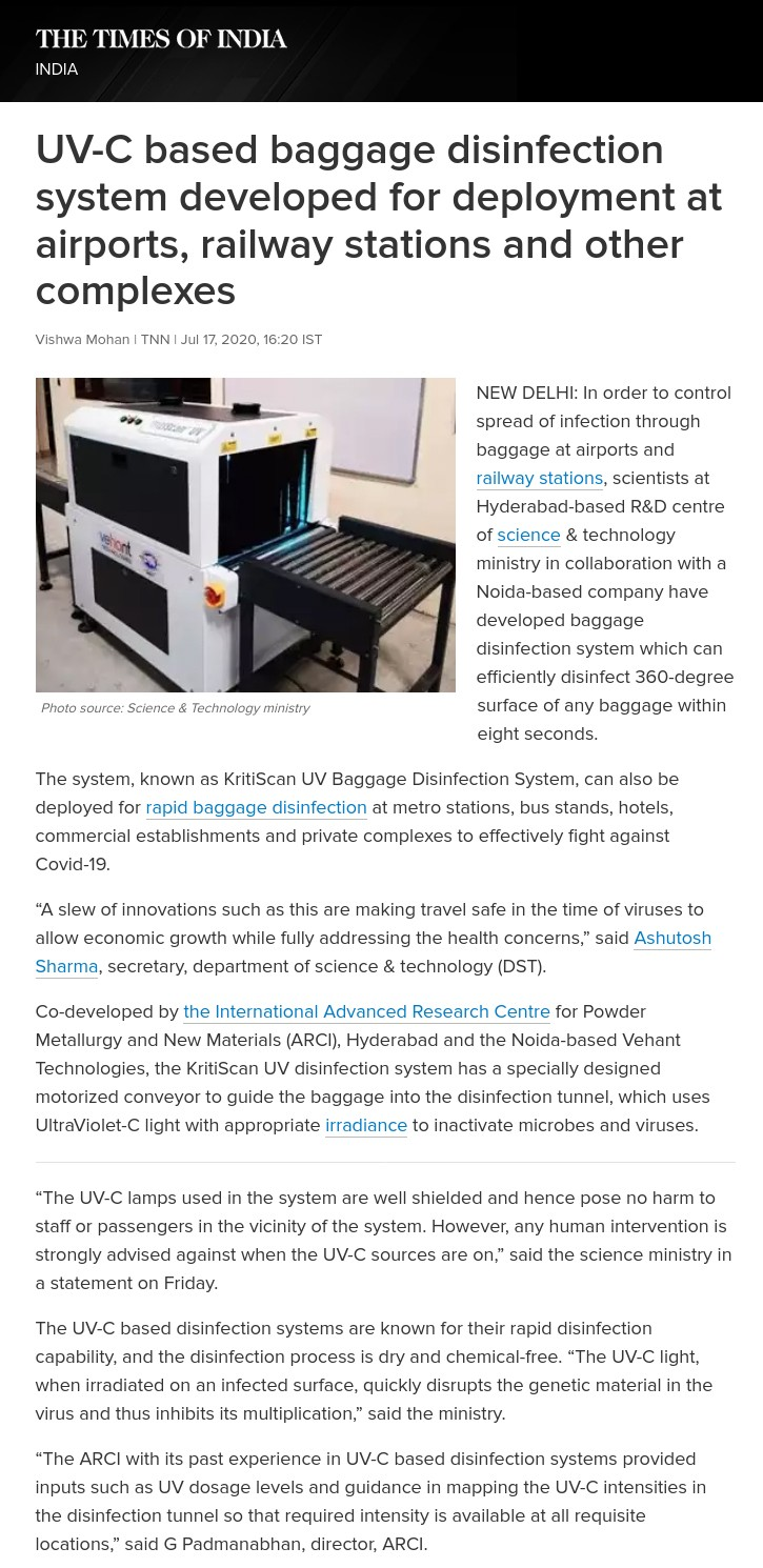 Times of India covers KritiScan UV, an UV-C based baggage disinfection system