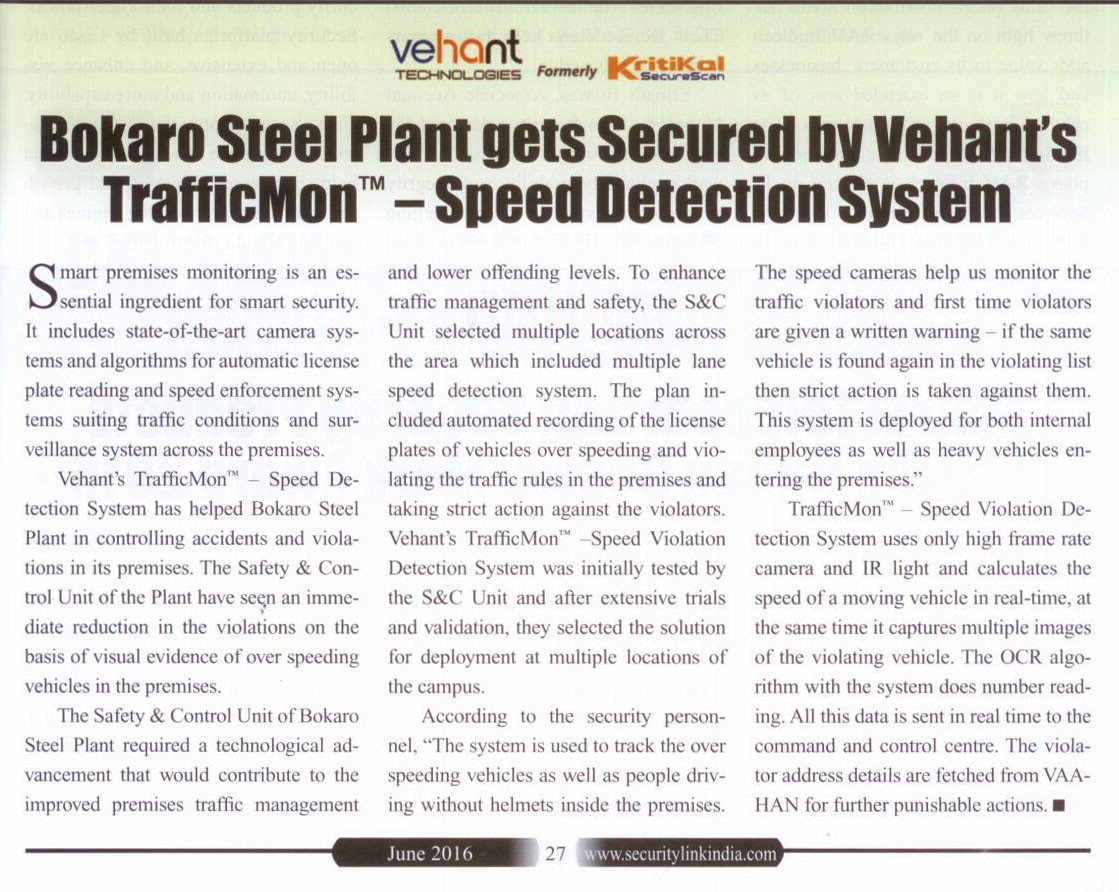 Bokaro Steel Plant secured with Vehant's Speed Detection System -Security Link India