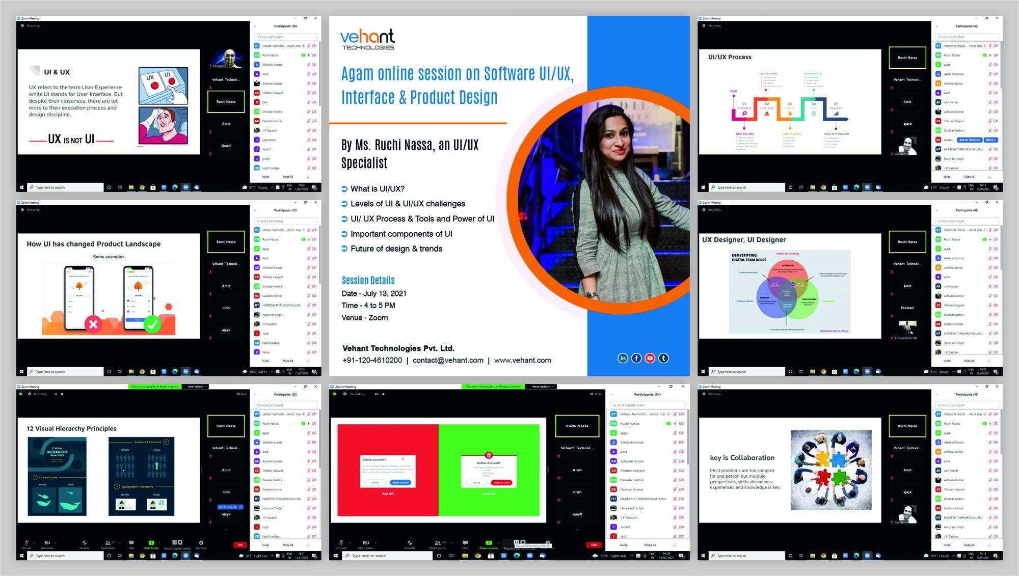 Vehant conducted an online session on Software UI/UX Interface & Product Design by Ms. Ruchi Nassa, a UI/UX Specialist for its members