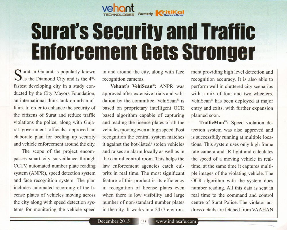 Surat's Security and Traffic Enforcement gets Stronger with Vehant's TrafficMon Solutions