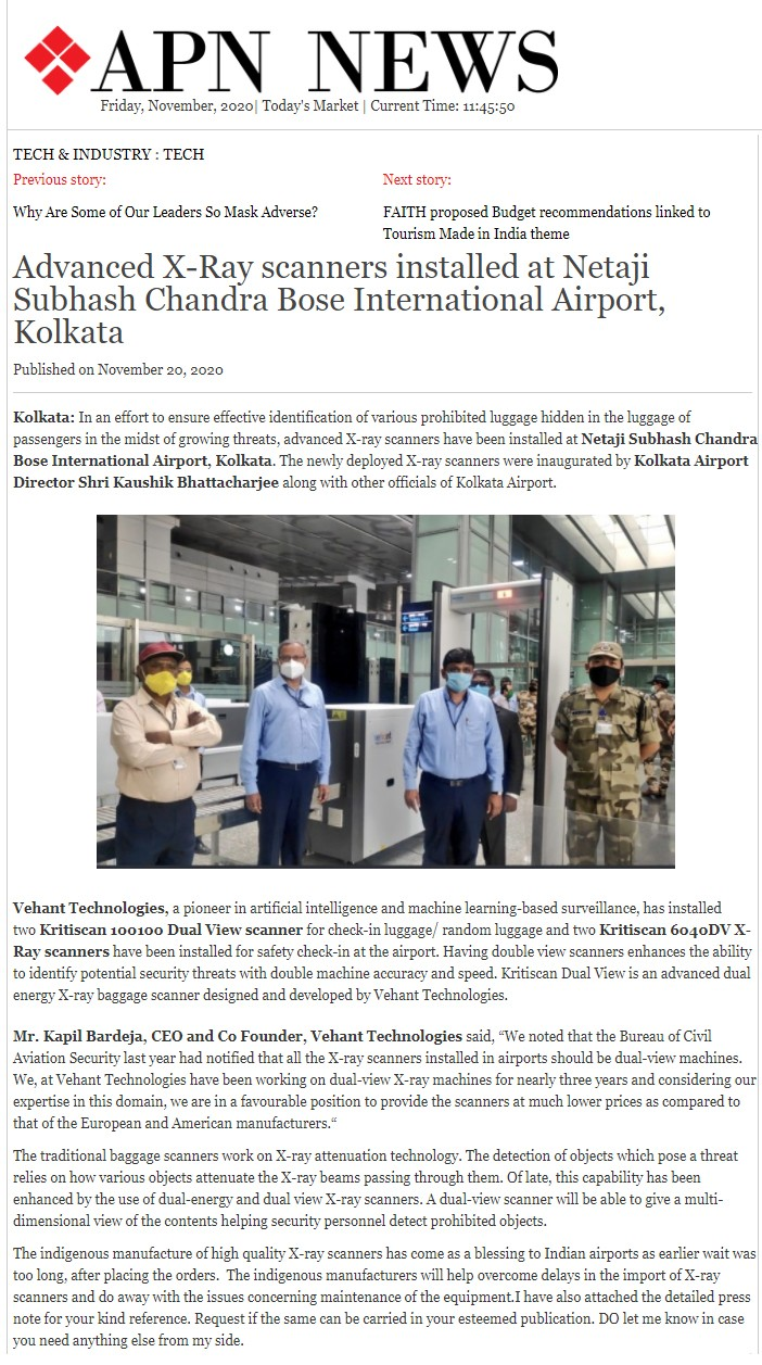 APN News covers inauguration of dual view x-ray baggage scanners at Kolkata Airport on Novermber 20, 2020
