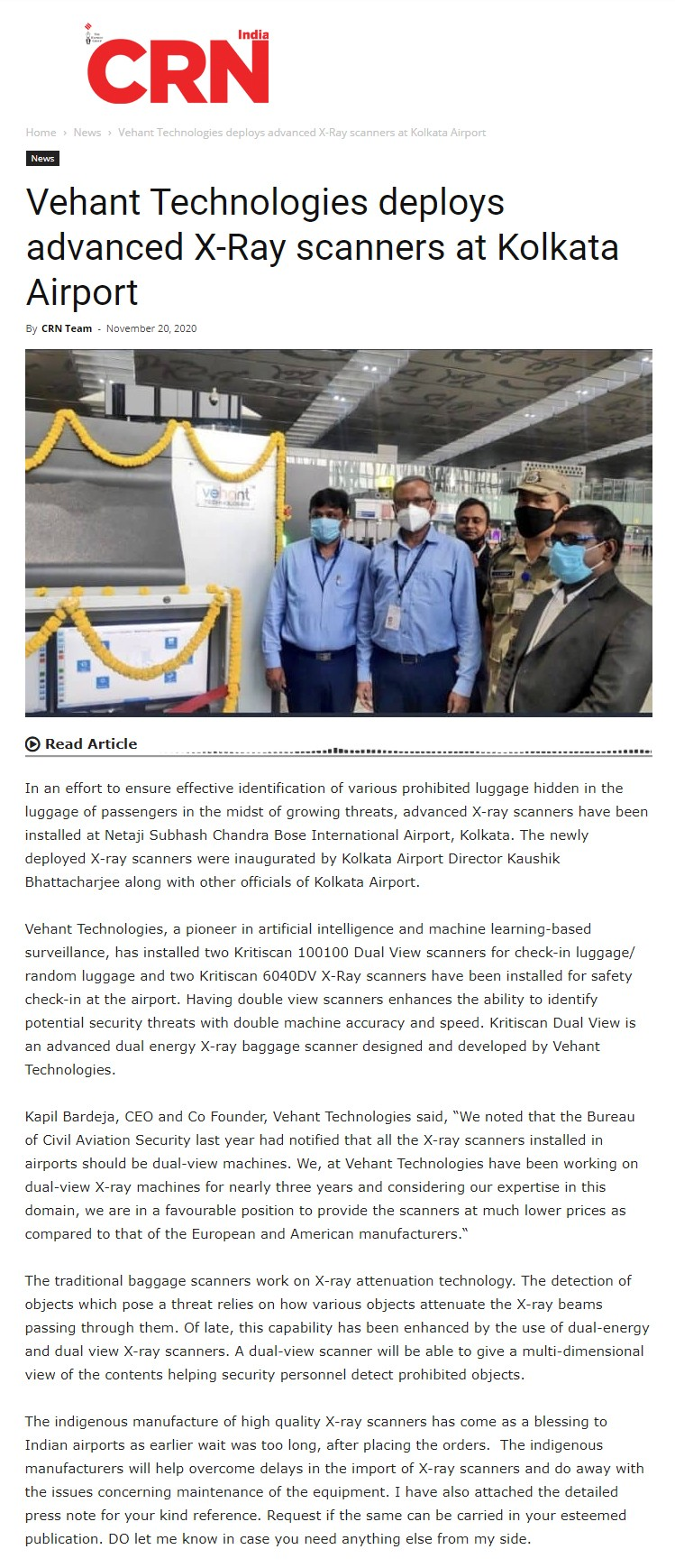 CRN News covers inauguration of dual view x-ray baggage scanners at Kolkata Airport on Novermber 20, 2020