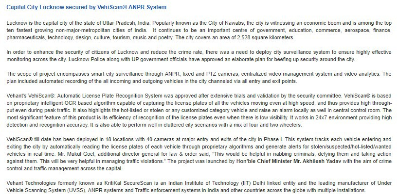 Capital City Lucknow secured by VehiScan® ANPR System