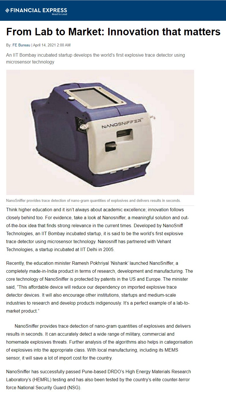 Financial Express Covers the launch of NanoSniffer - Explosive Trace Detector
