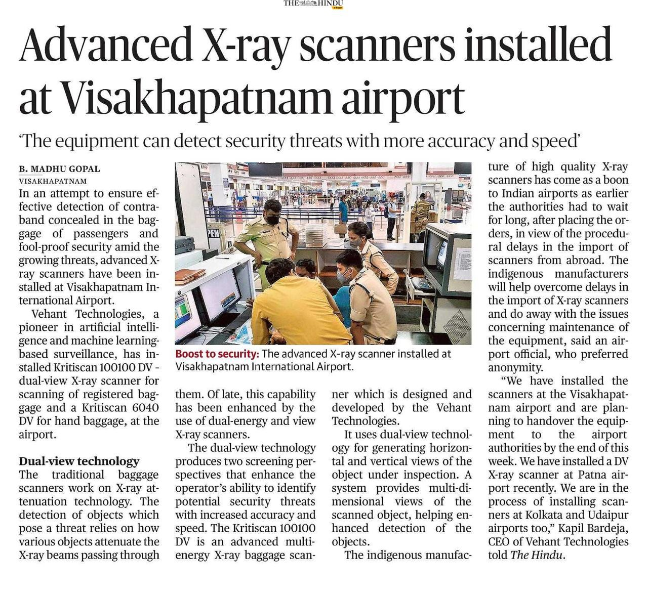 The Hindu covers Dual View X-Ray Baggage Scanner on 1st October 2020