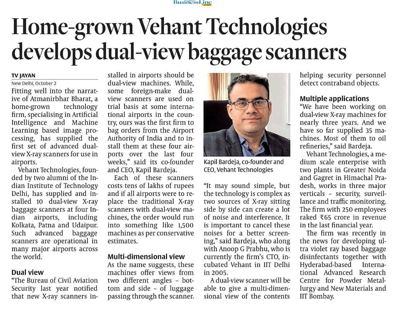 Hindu BusinessLine covers Dual View X-Ray Baggage Scanner on 2st October 2020