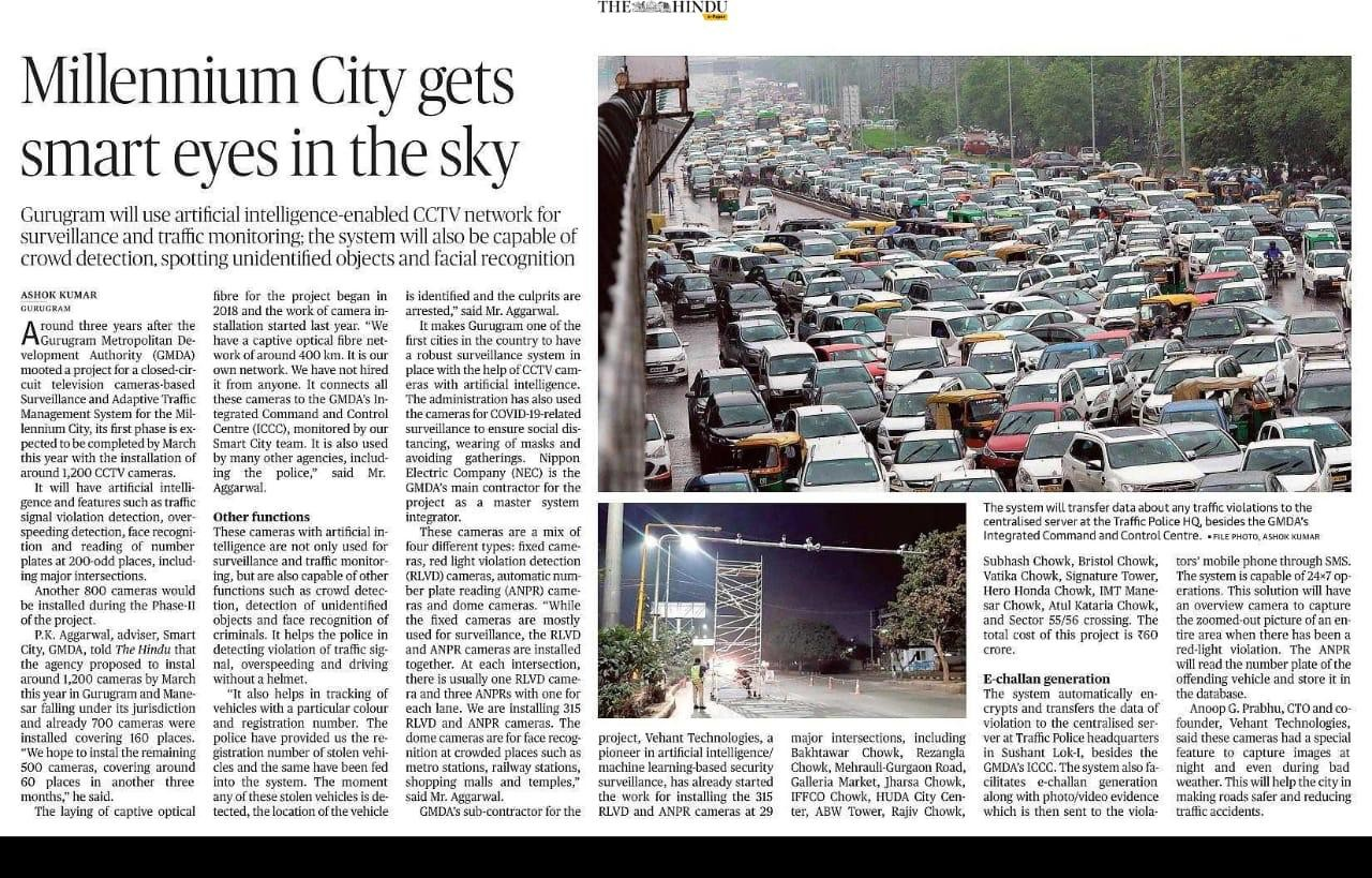 The Hindu covers our Traffic Monitoring System installation in smart city project of Gurugram