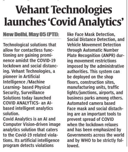Vehant Technologies launches 'Covid Analytics', coverage in Central Chronicle