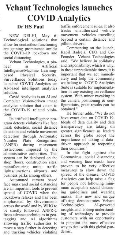 Daily Excelsior covers the launch of Vehant's Covid Analytics - AI based Intelligent Analytics Solutions