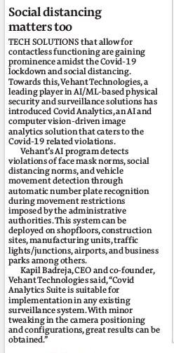 Social Distancing matters too. Vehant's Covid Analytics  - AI based Intelligent Analytics Solution covered by Financial Express