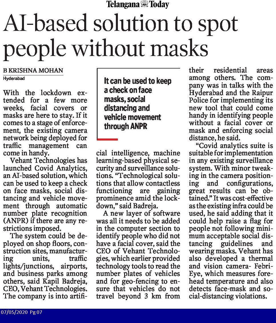 AI based solution to spot people without mask. Coverage in Telangana Today