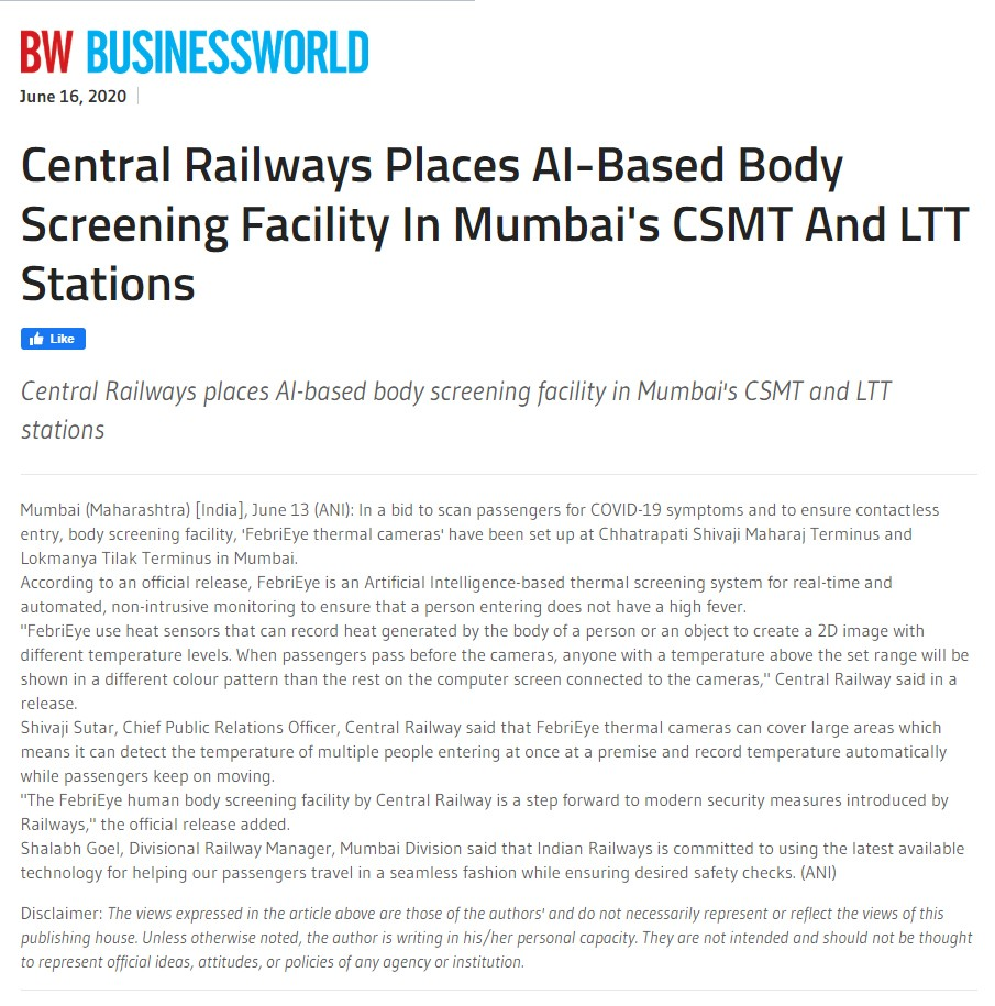 Central Railways places AI based body screening in Mumbai Stations. FebriEye Coverage in Business World
