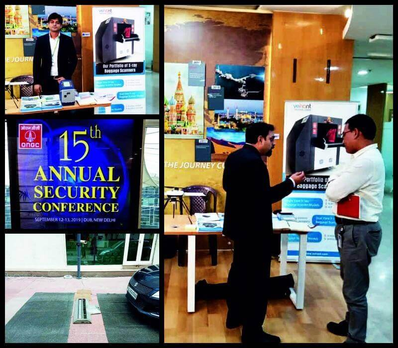 "Vehant demonstrating it's recently launched product ""NanoSniffer - Explosives Trace Detector"" and one of its best selling product ""NuvoScan (P) - Portable Under Vehicle Scanning"" system at ONGC's 15th Annual Security Conference."