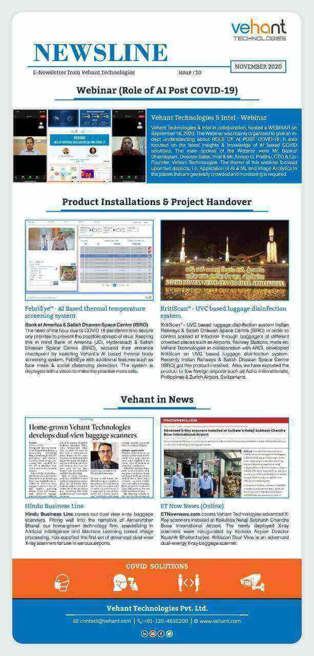 Vehant Newsletter - November 2020 (Issue - 10)