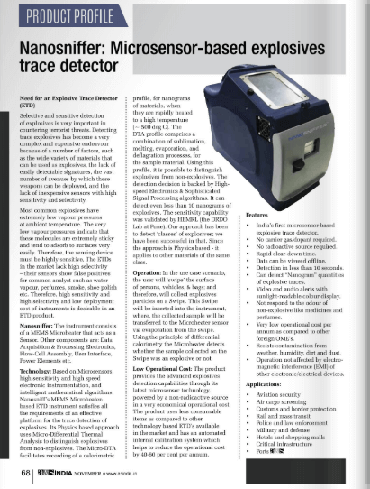 a&s India covers Vehant's NanoSniff - Explosives Trace Detector