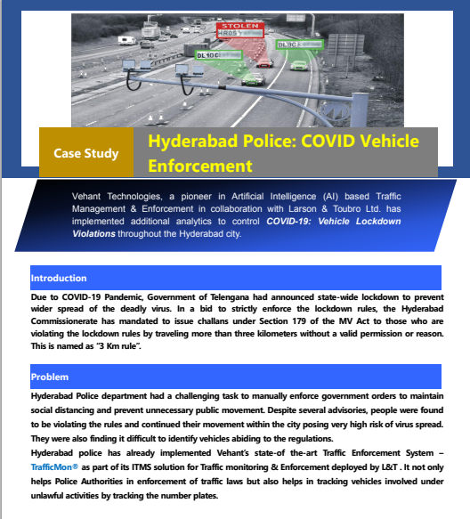 Case Study -Vehant helps Hyderabad Police in implementing COVID Vehicle Violation Enforcement